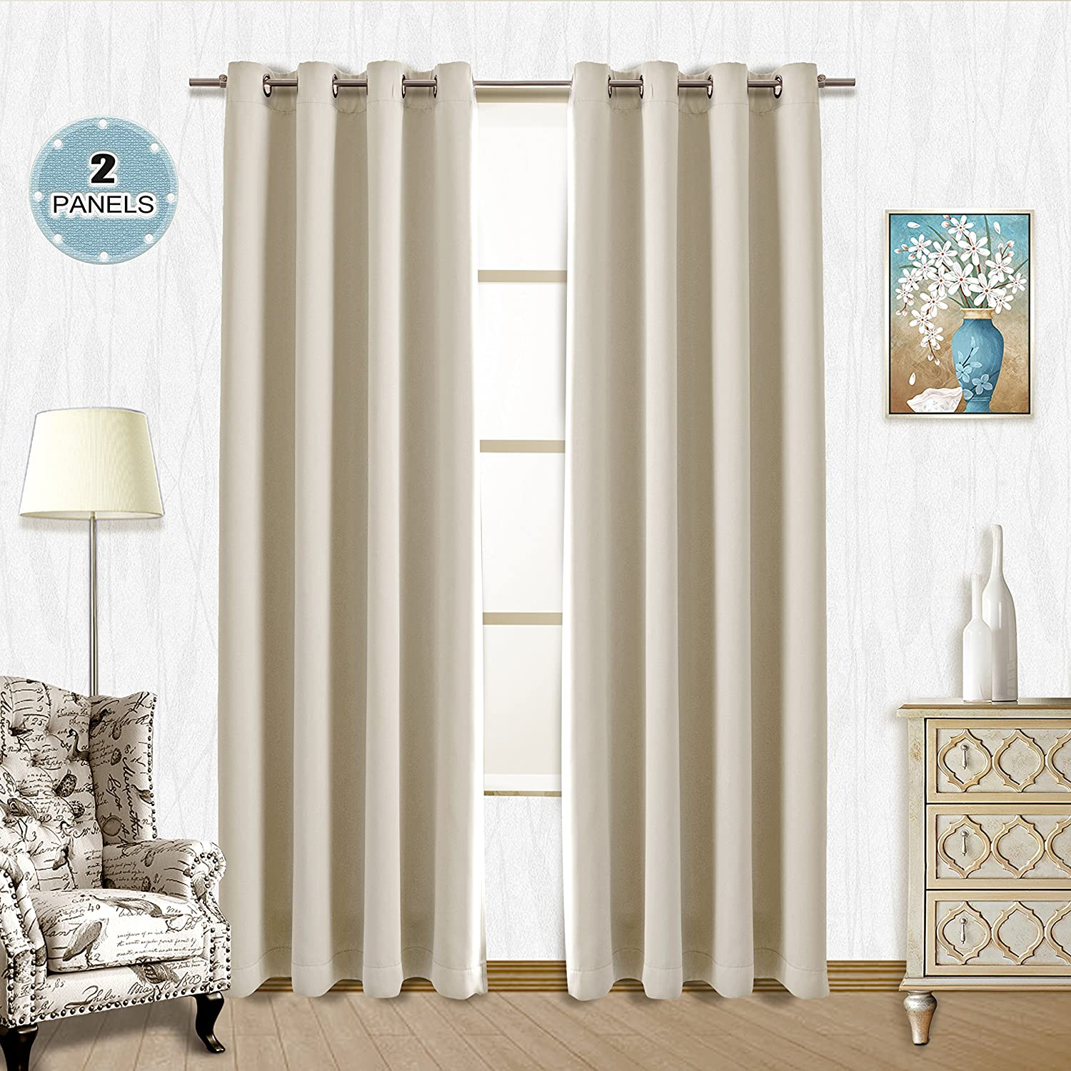 Vangao Room Darkening Thermal Insulated Blackout Curtains 2 Panels Beige