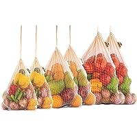 Sac à légumes réutilisable, Sac en filet de coton, Sac en coton pour légumes, Sac en coton réutilisable, Sacs à produits alimentaires, Sac en tissu, Ensemble de 6 (2 X - GRAND, 2 GRAND, 2 MOYEN)