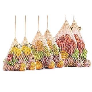 Reusable Cotton Mesh Produce Bags - 100% Organic Cotton Produce Bags - Mesh Grocery Bag - NetZero Produce Bags - EcoFriendly Produce Bags - Biodegradable - Cotton Mesh Bags (Set of 6 - XL, L, M)