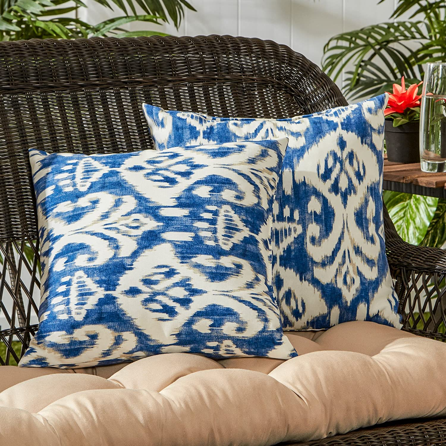 Set of 2 Greendale Home Fashions AZ4803S2-SUNSET Adobe Stripe Outdoor 17-inch Square Throw Pillow