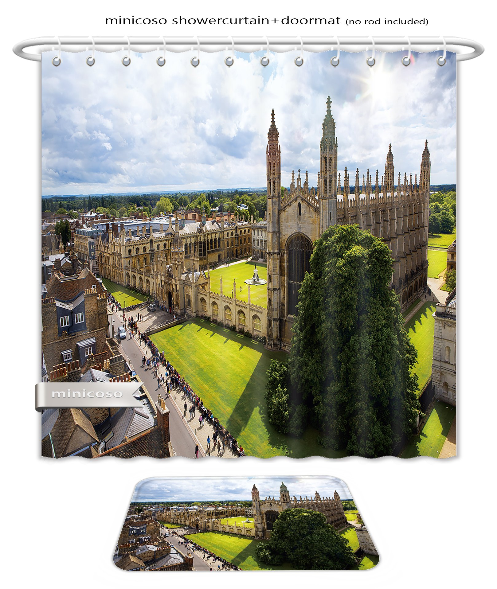 Minicoso Bath Two Piece Suit: Shower Curtains and Bath Rugs Cambridge University And Kings College Chapel Shower Curtain and Doormat Set
