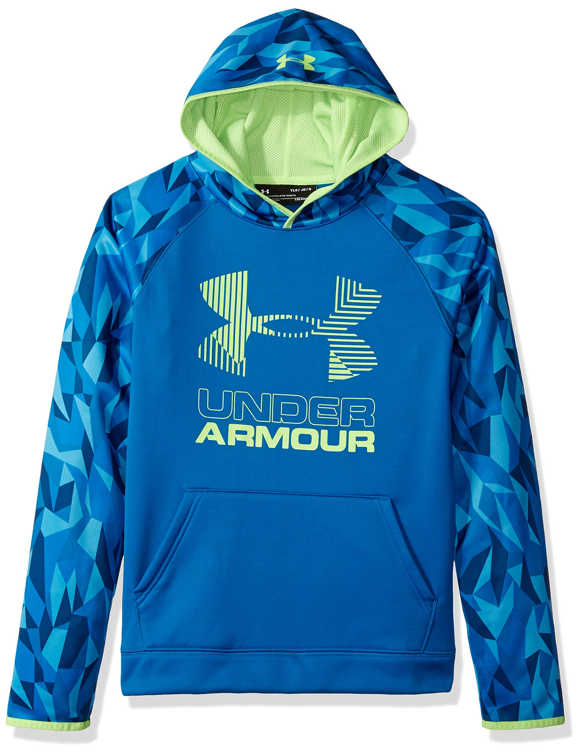 Under Armour Boys' Armour Fleece Printed Big Logo Hoodie, Cruise Blue /Quirky Lime, Youth X-Small