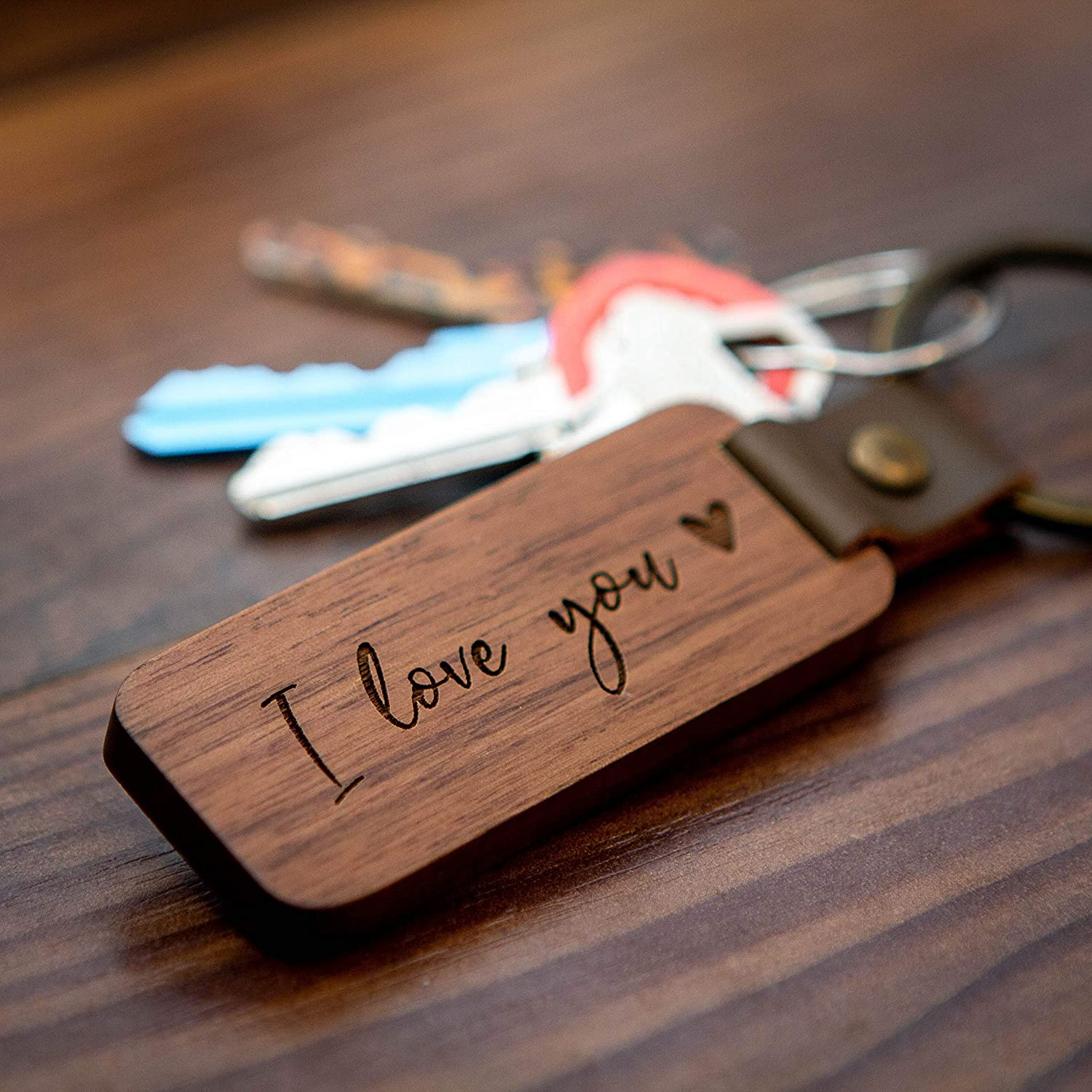 with Engraving Partner Keychain Set of Walnut Wood Gift