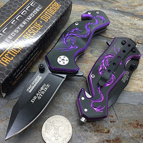 NEW Black Aluminum Handle w Purple Dragon Small Spring Assisted Knife