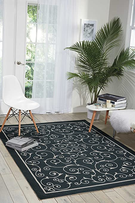 Amazon Com Nourison Home Garden Rs019 Black Rectangle Area Rug