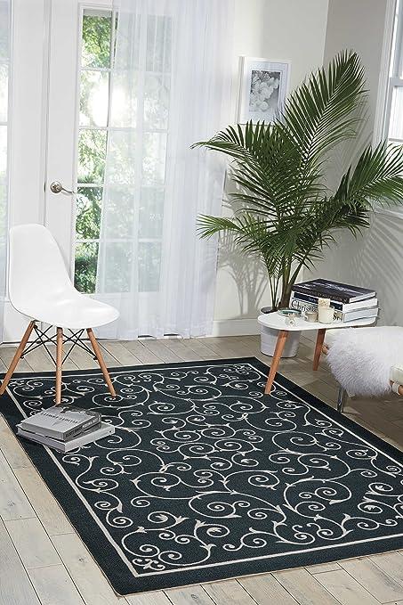 Amazon Com Nourison Home Garden Rs019 Black Rectangle Area Rug