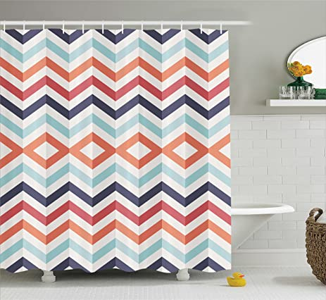 Chevron Shower Curtain Geometric Textiles Print Decor By Ambesonne, Zig Zag  Lines And Stripes Design