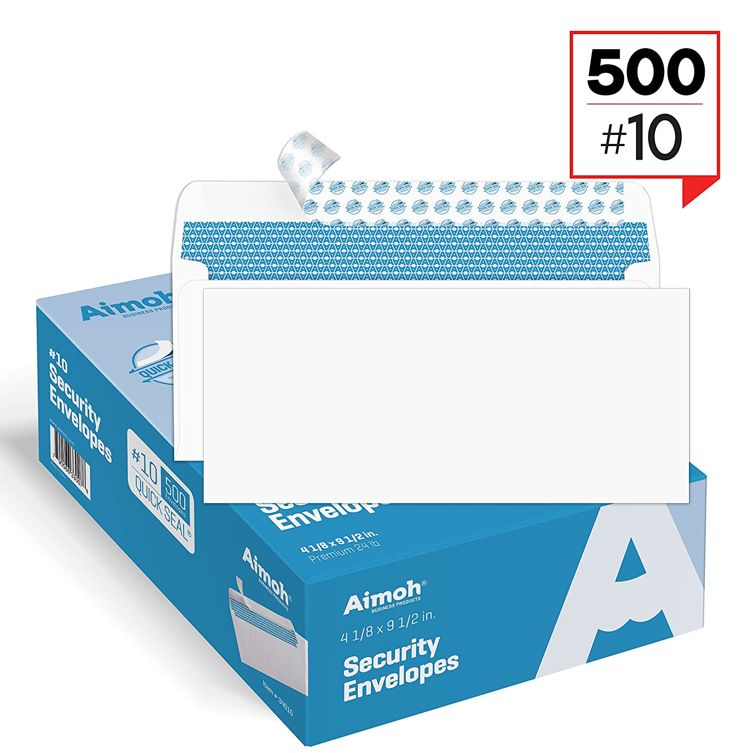 #10 Security SELF-SEAL Envelopes, Windowless Design, Premium Security Tint Pattern for Secure Mailing, Ultra Strong QUICK-SEAL Closure - Size 4-1/8 x 9-1/2 Inches - White - 24 LB - 500 Count (34010) Aimoh 34010-500