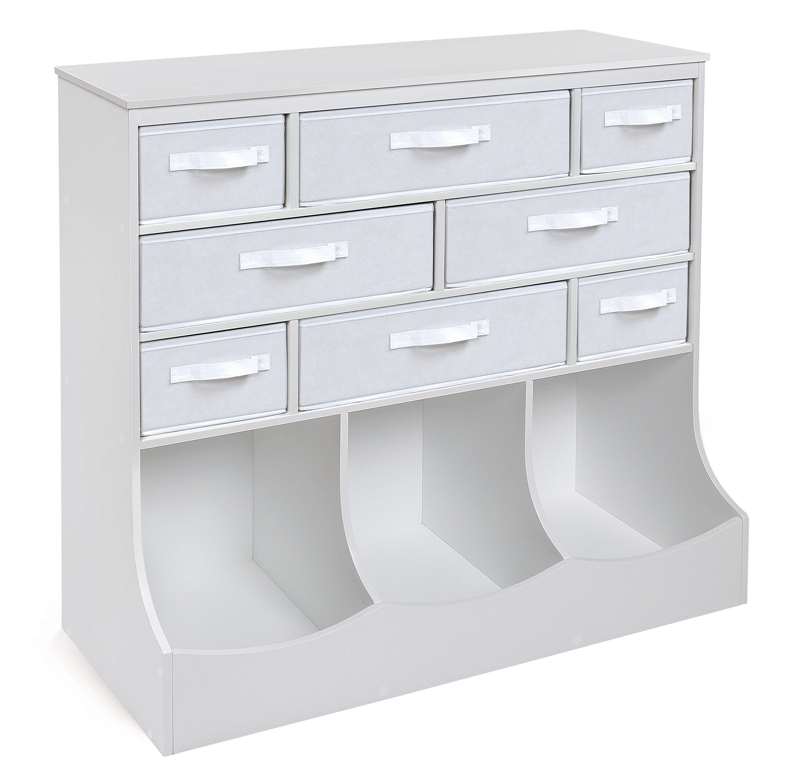 Badger Basket Storage Station with Eight Baskets and Three Bins, White/Gray