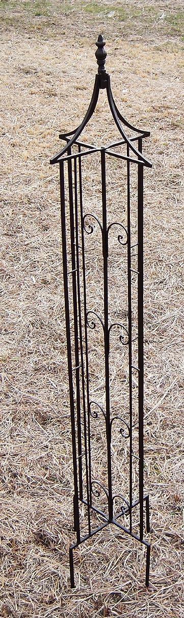 硬化する気楽な煩わしい国華園 ジャンボオベリスク 1個 幅90×奥行90×高さ210cm 折りたたみ式 ブラック 鉄製 アイアン オベリスク