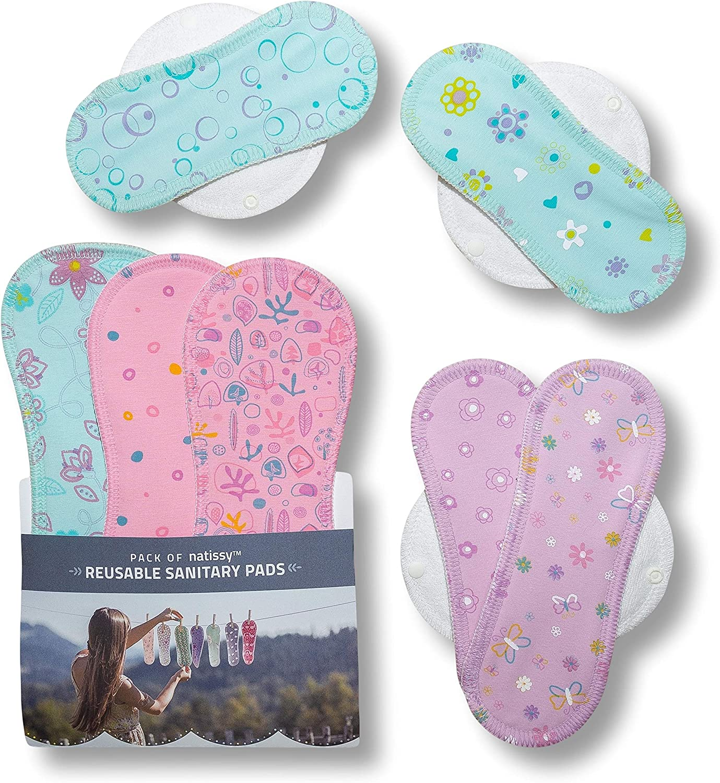 Compresas de tela reutilizables, pack de 7 compresas ecologicas de algodón puro con alas; HECHAS EN LA UE, para menstruación, postparto, ...