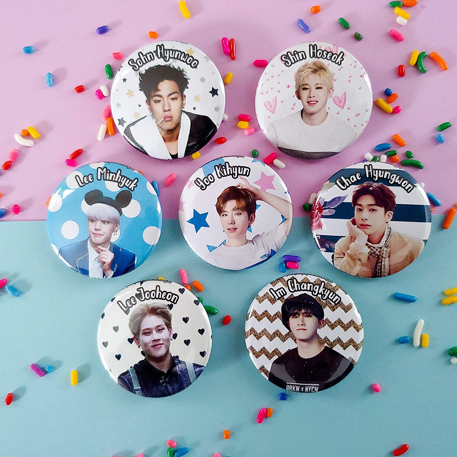 """1.5/"""" Monsta X Buttons or Badges Multicolored Individual or Set of 7"""