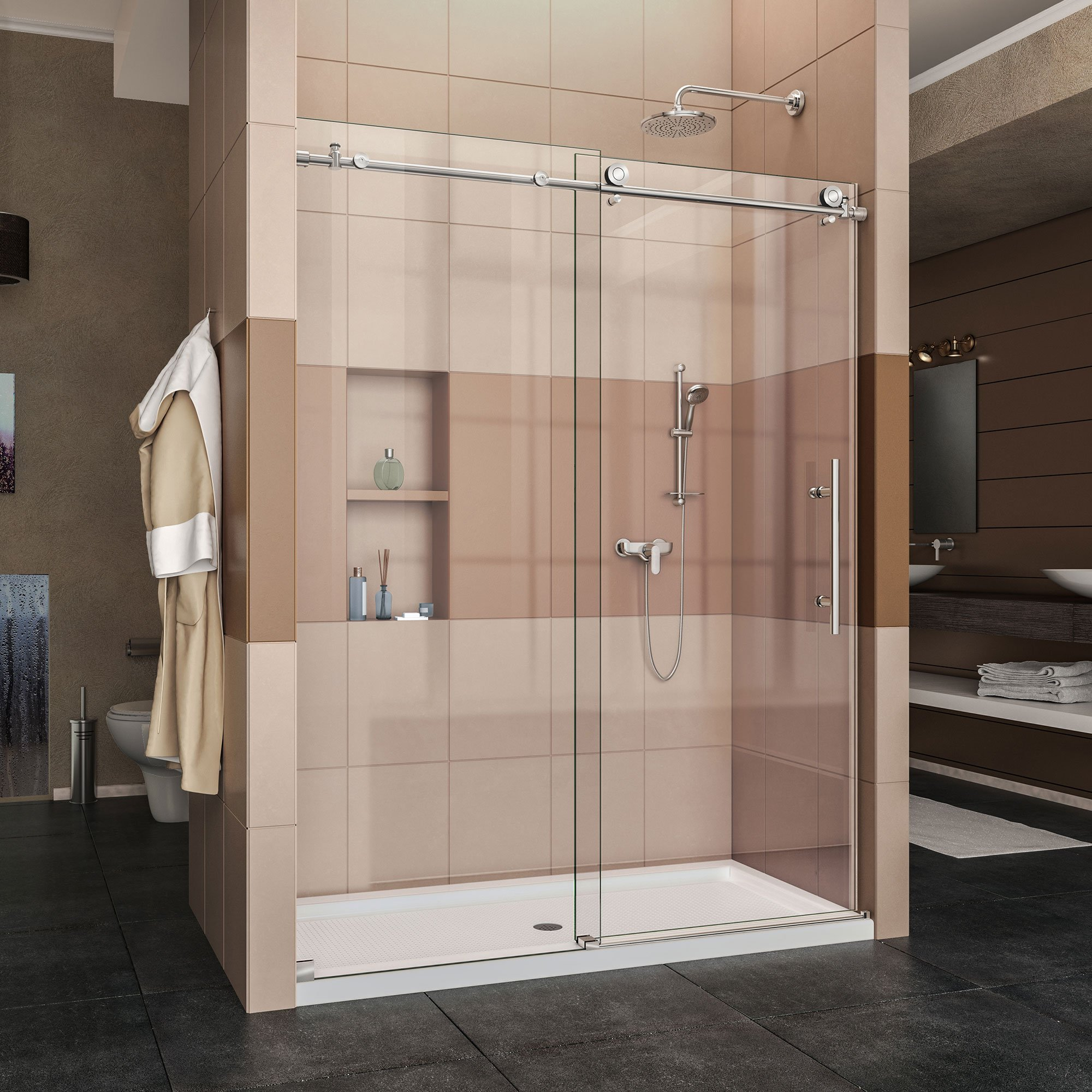 DreamLine Enigma-X 56-60 in. Width, Frameless Sliding Shower Door, 3/8'' Glass, Polished Stainless Steel Finish