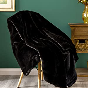 Sofila Faux Fur Throw Blanket Mink Plush Fleece, Super Soft Warm Cozy Fuzzy for Sofa Couch Bed Home Decorative Luxury Elegant, Black Panther, 60 x 80 Inches