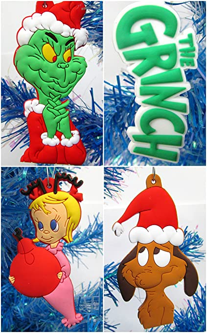 dr seuss the grinch who stole christmas set of christmas ornaments featuring grinch and friends - Grinch Christmas Decorations Amazon