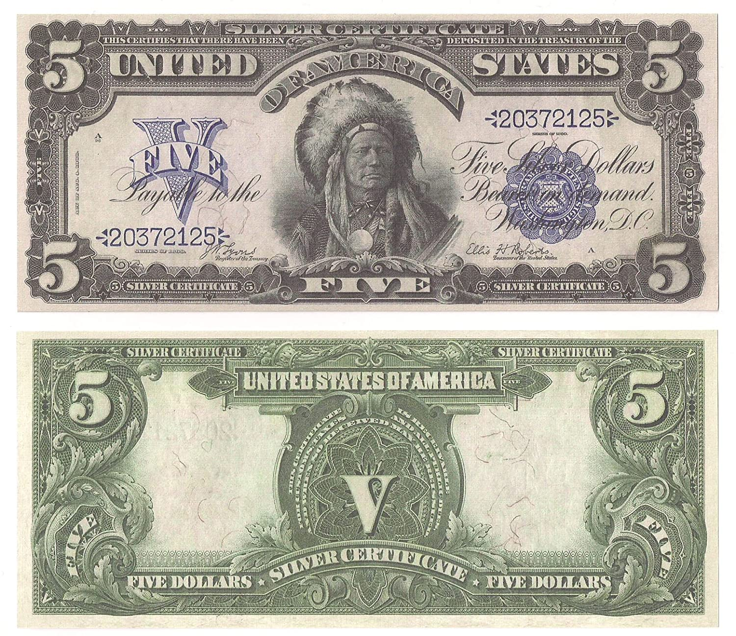 Amazon 1899 500 Silver Certificate Indian Chief Bill