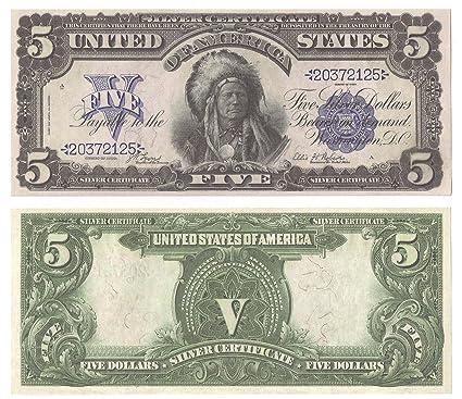 Amazon.com : 1899 $5.00 Silver Certificate - Indian Chief - Bill ...