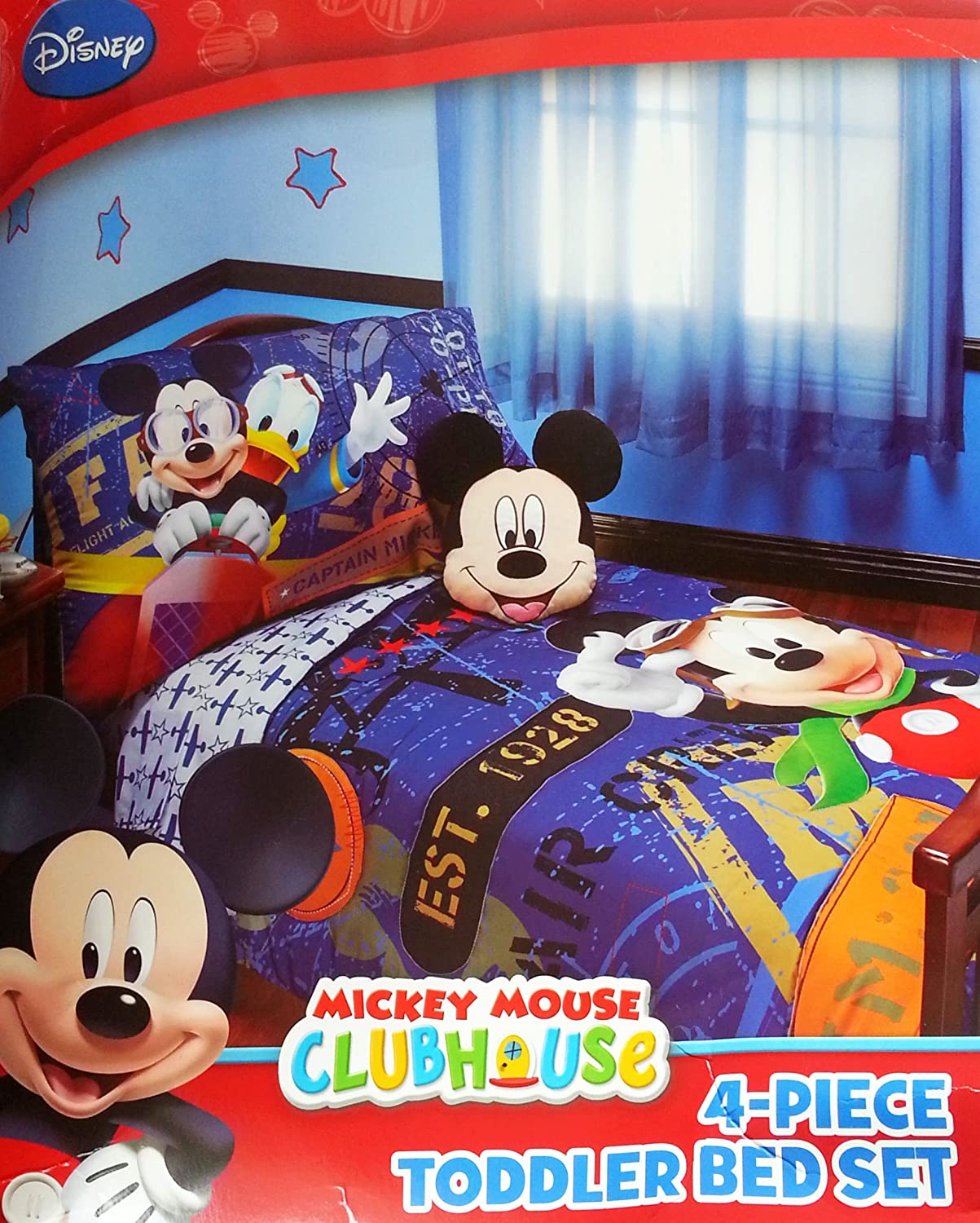 Amazon.com : Disney Mickey Mouse 4pc Toddler Bedding Set U0027u0027Genuine  Licensedu0027u0027 : Boy Toddler Bedding : Baby