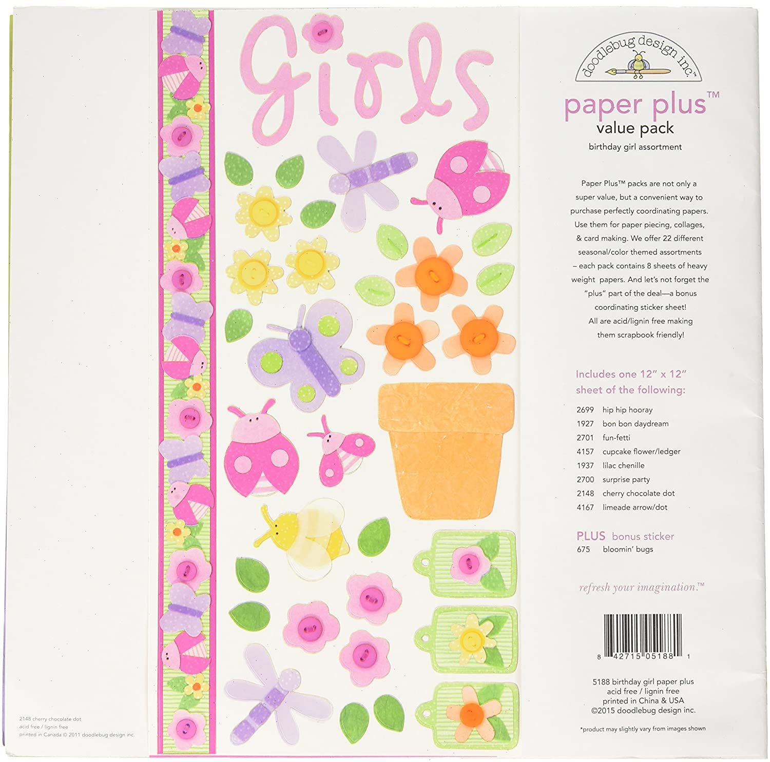 Birthday Boy Multicolor Doodlebug 5187 Paper Plus Value Supplies 12 Pack 12 X 12