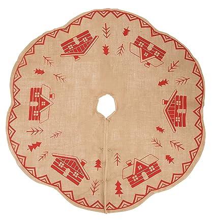 Amazon Com Juvale Burlap Christmas Tree Skirt Winter Holiday