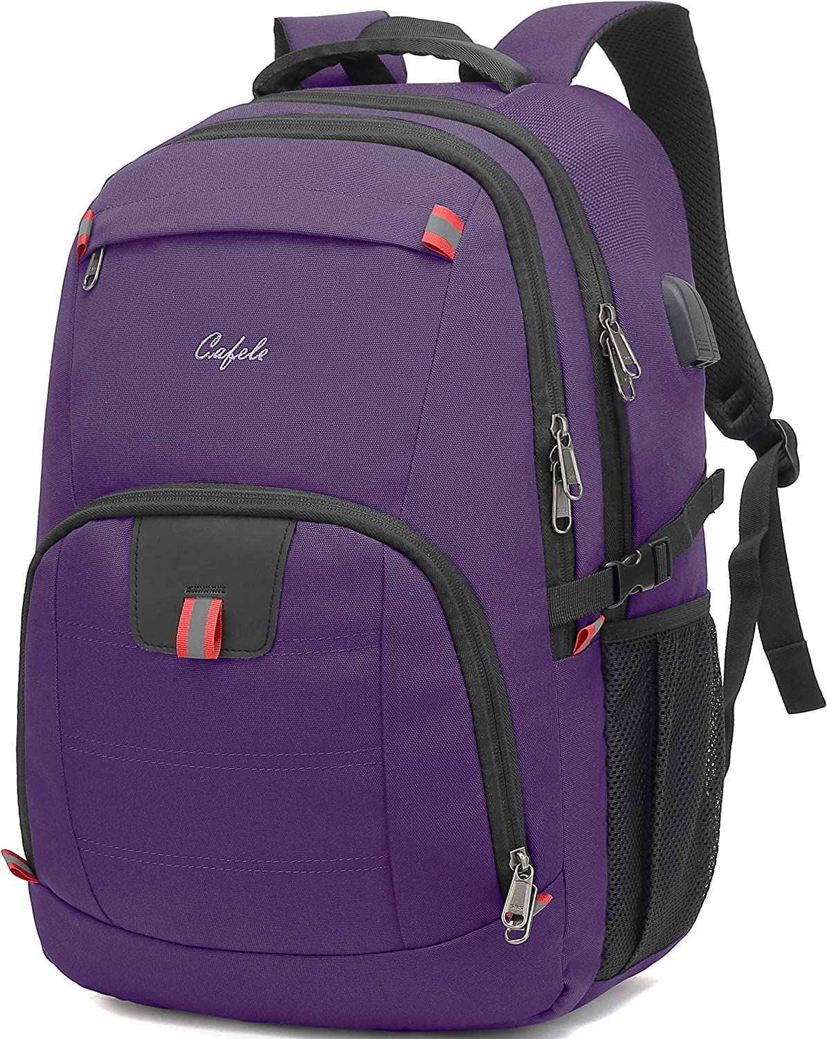 CAFELE Travel Laptop Backpack 17.3 inch,Extra Large School Backpack Bookbag Computer Rucksack with USB Charging Port,Water Resistant Backpacks for Business College Travel,Women Casual Daypack,Purple