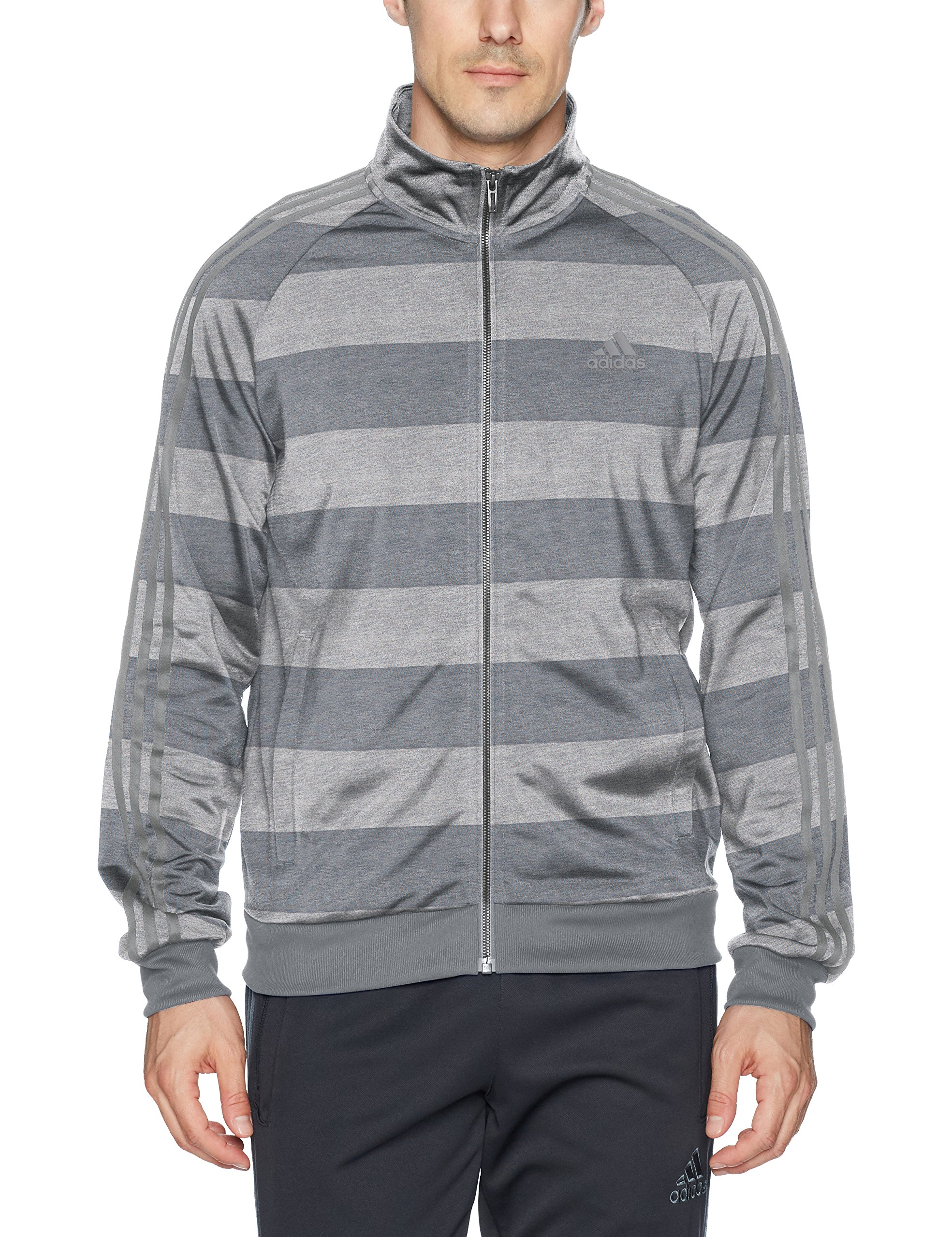 adidas Men's Essentials 3-Stripe Tricot Track Jacket, Medium Grey Heather/Print, Small by adidas (Image #1)
