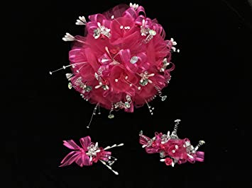 Amazon deluxe 15th quinceaera hot pink flower bouquet set and deluxe 15th quinceaera hot pink flower bouquet set and corsage ramo para quinceaera 15 mightylinksfo