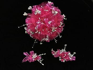 Amazon deluxe 15th quinceaera hot pink flower bouquet set and deluxe 15th quinceaera hot pink flower bouquet set and corsage ramo para quinceaera 15 mightylinksfo