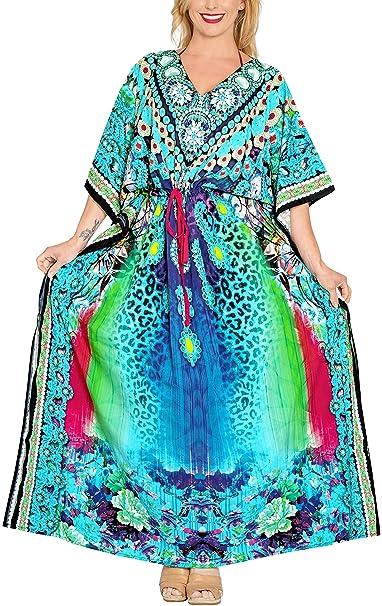 Likre Traje de baño de la Playa Ropa de Dormir Digitales Kimono caftán más tamaño Vestido de caftán: Amazon.es: Ropa y accesorios