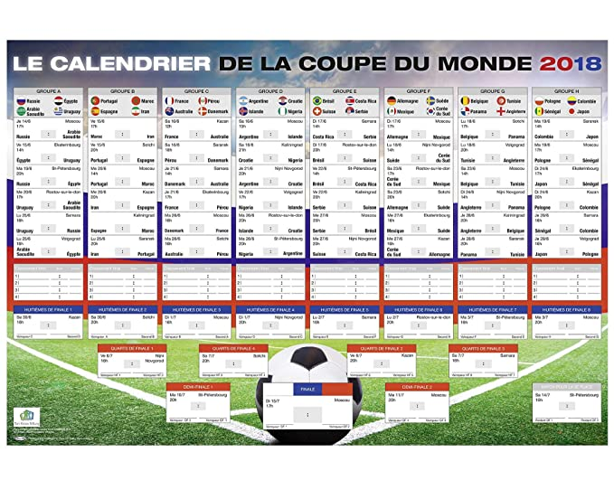Coupe Du Monde De Football Calendrier.Up Close Calendrier De La Coupe Du Monde 2018 Russie Football 101 5cm X 68 5cm