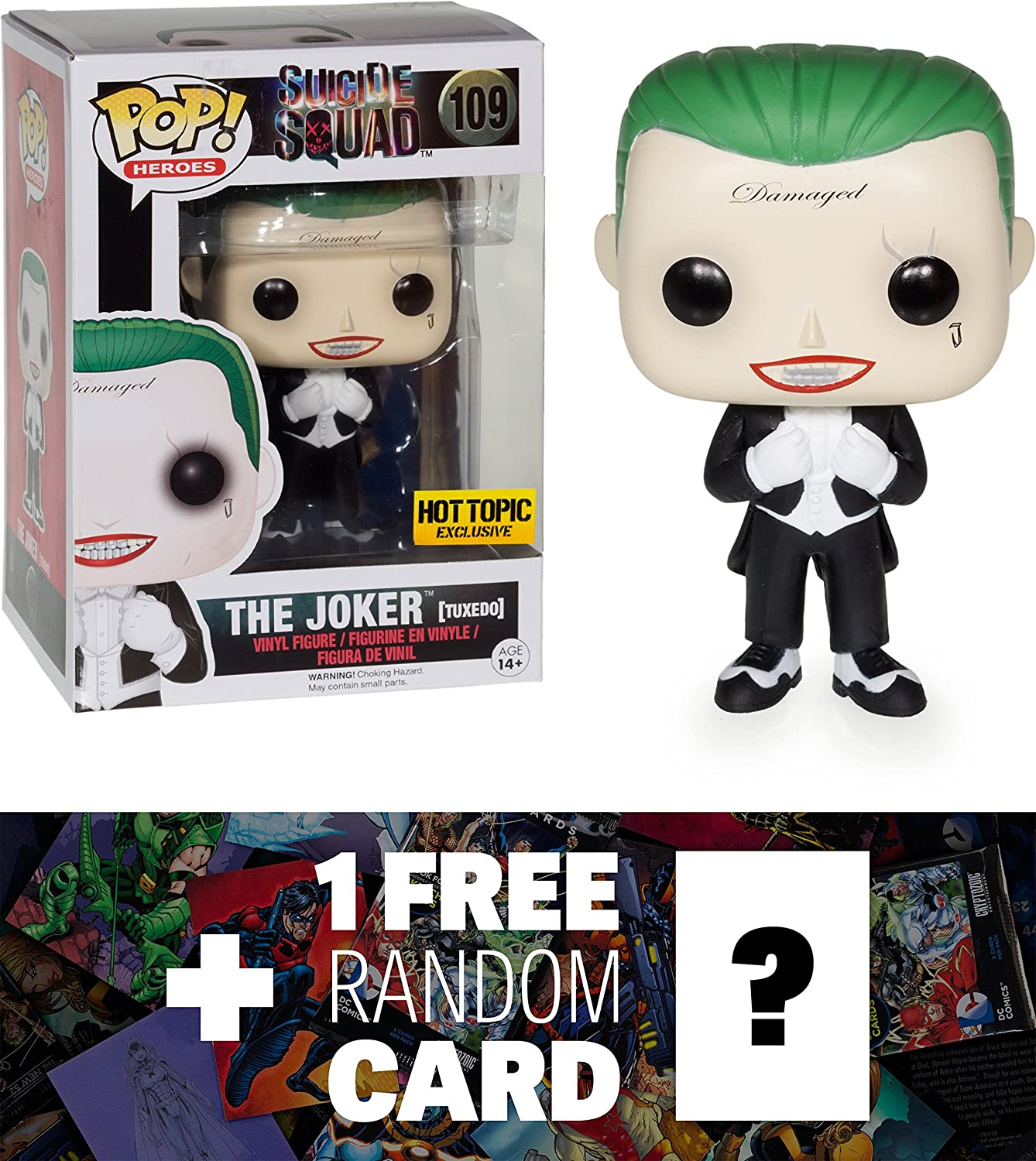 Amazon Com The Joker Hot Topic Exclusive Funko Pop X Suicide Squad Figure 1 Free Official Dc Trading Card Bundle 086626 Toys Games