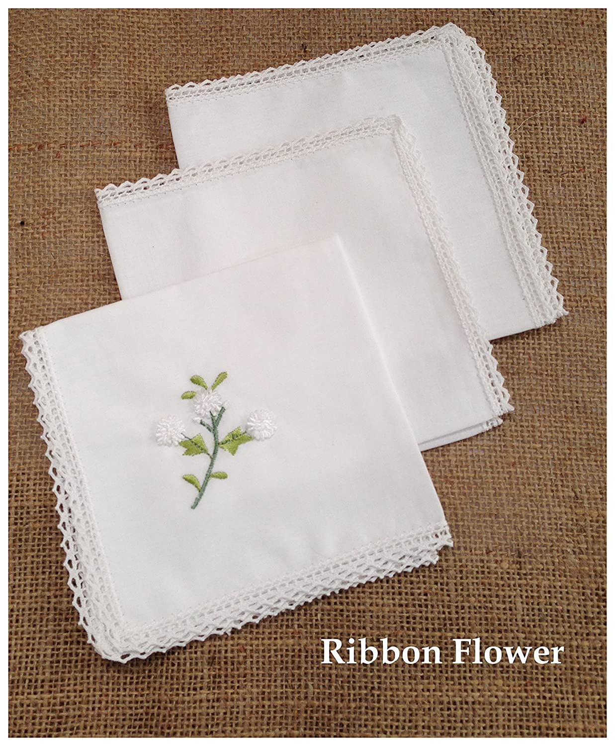 Pack of 3 Beautiful 100% Cotton Ladies Handkerchiefs with Fine Crochet Border (Ribbon Flowers)