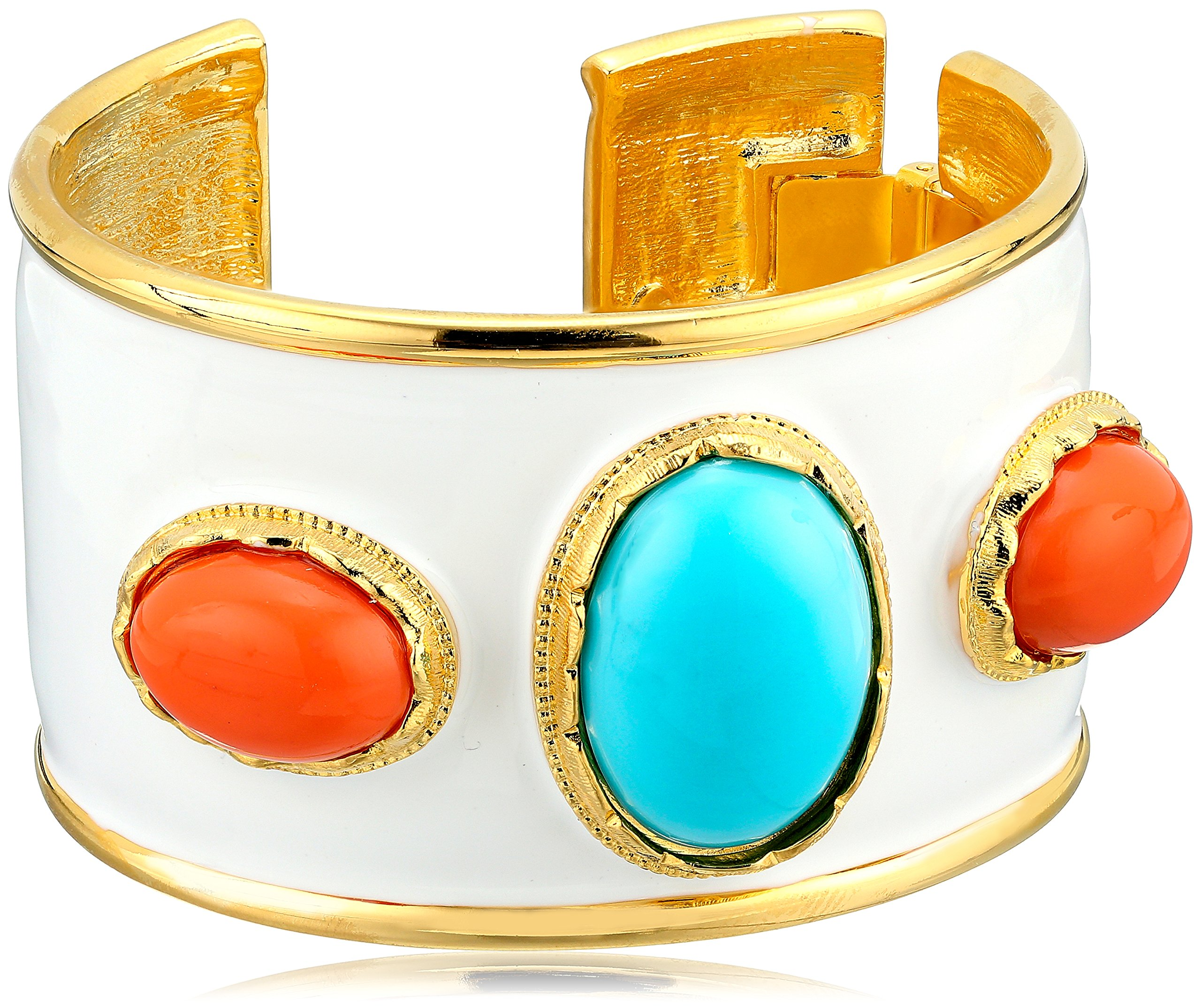 Kenneth Jay Lane White Enamel, Turquoise Color and Coral Cuff Bracelet