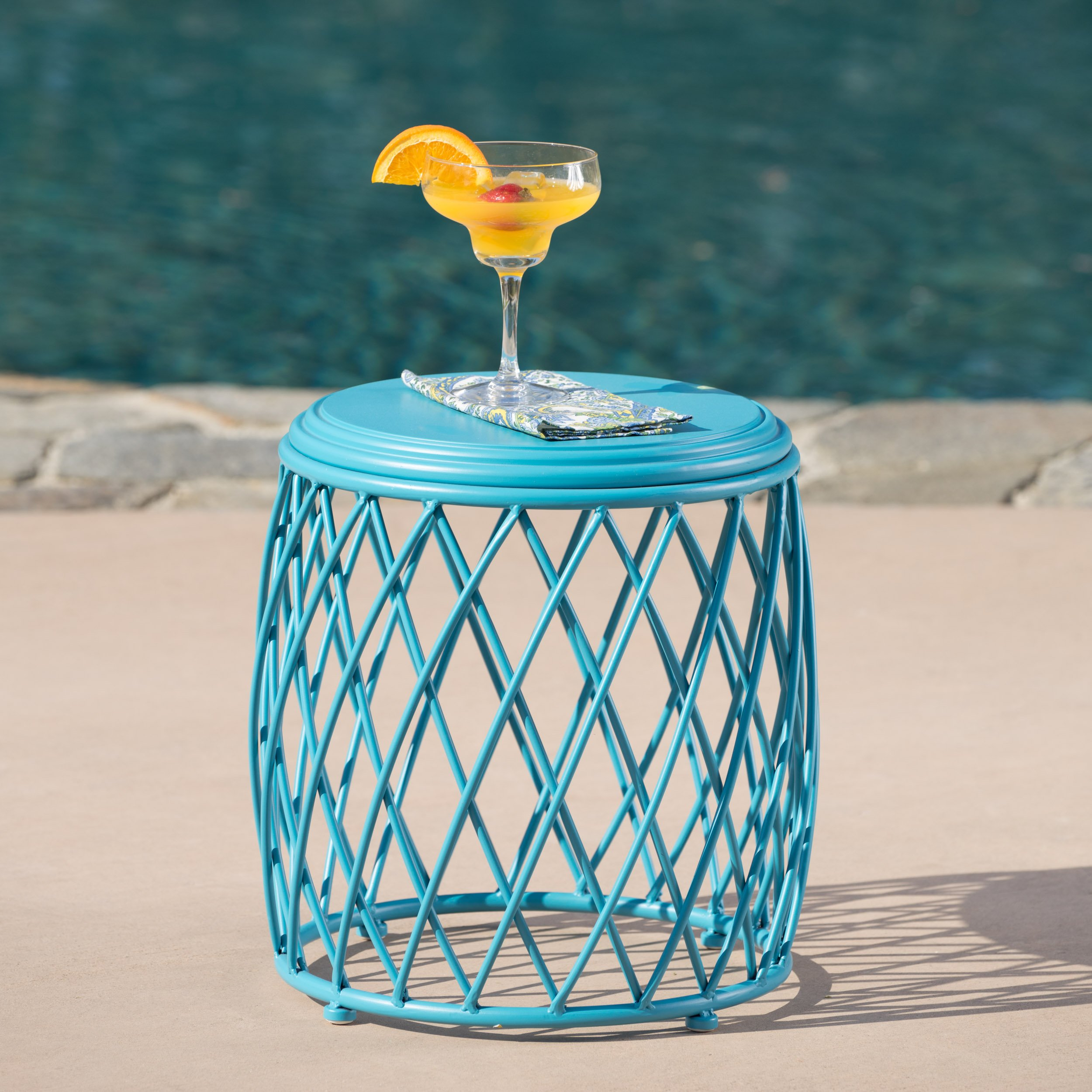 Alameda Outdoor 15 Inch Lattice Iron Side Table (Matte Blue) by GDF Studio