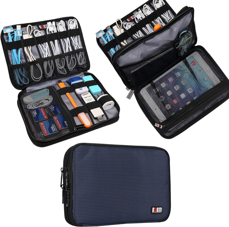 BUBM Organizador de Accesorios Eléctrica Estuche para Guardar Cables Memorias USB Bolsa con Cremallera para iPad Bolso de Doble Capas (Medium,Azul Oscuro): Amazon.es: Electrónica