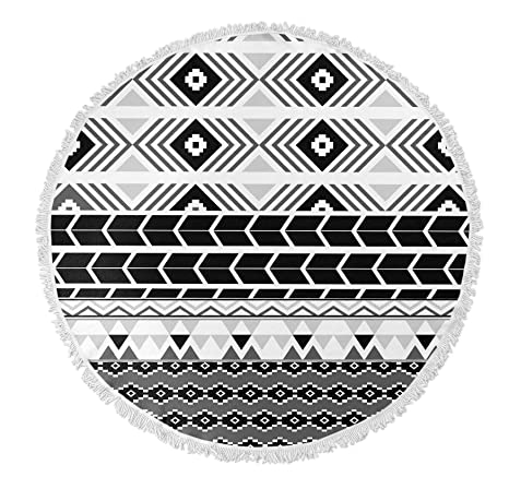 44bd614d9 Amazon.com: KAVKA DESIGNS Black and White Tribal Round Beach Towel,  (Grey/White/Black) - NAVAJO Collection, Size: 60x60x.5 -  (TELAVC011FSBTR60): Home & ...