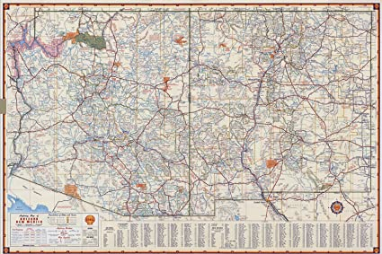 Map Of Arizona To Mexico.Amazon Com Historic Map Shell Highway Map Of Arizona And New