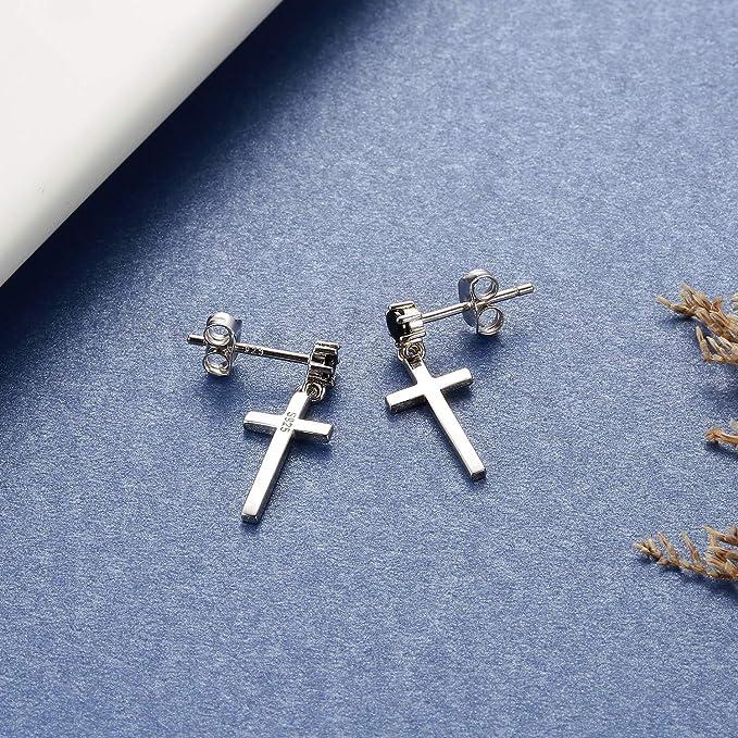 Details about  /Pair fashion sterling silver tassel cross earrings S925 trendy woman jewelry