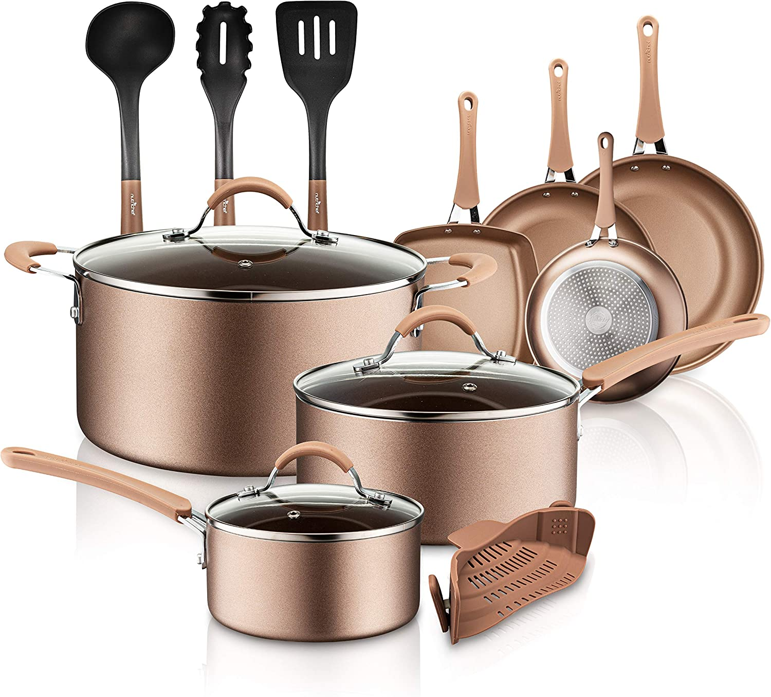 NutriChef PTFE/PFOA/PFOS 14-Piece Nonstick Cookware Set, w/Saucepan, Frying, Cooking Pots, Dutch Oven Pot, Lids, Utensil, Free Heat Resistant Lacquer Kitchen Ware Pots Pan