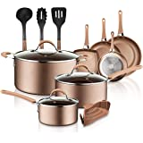 NutriChef 14-Piece Nonstick Cookware PTFE/PFOA/PFOS-Free Heat Resistant Lacquer Kitchen Ware Set w/Saucepan, Frying Pans, Coo