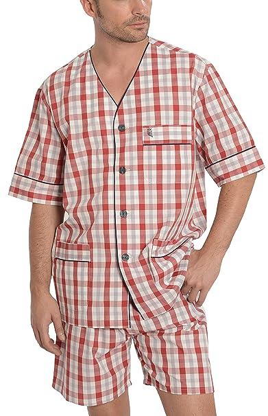 Pijama de Caballero | Pijama de Hombre de Manga Corta clásico a Cuadros | Ropa de