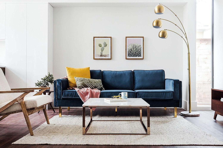 Edloe Finch EF-Z4-3S008B Midcentury Modern Albany Park Blue Velvet Sofa, 87 ,