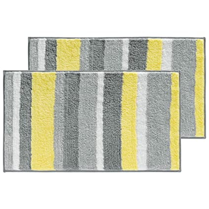 mDesign Striped Microfiber Polyester Rug Non-Slip Spa Mat//Runner