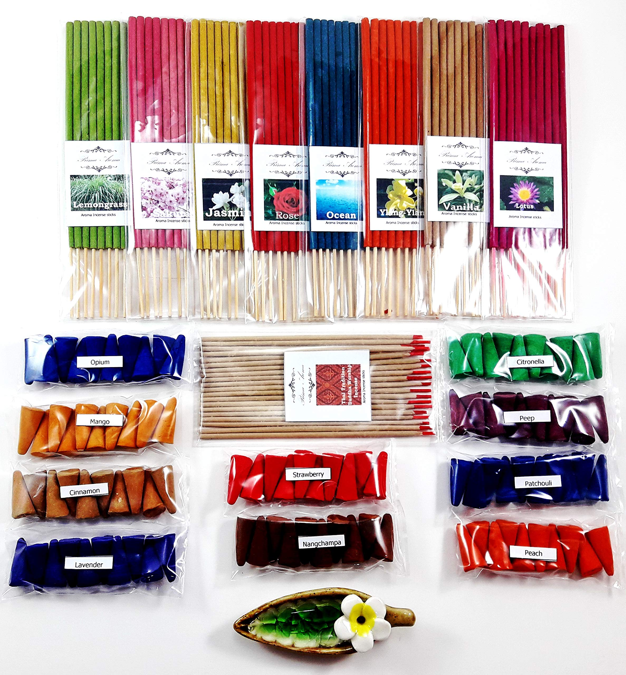 Relaxation with 19 scented, Thai tradition temple incense 20 sticks, 8 packs of 10 smokeless fragrance incense tube, 10 packs of 10 aroma fragrance Incense cones & handmade ceramic Incense burner (P4) by Prima Place