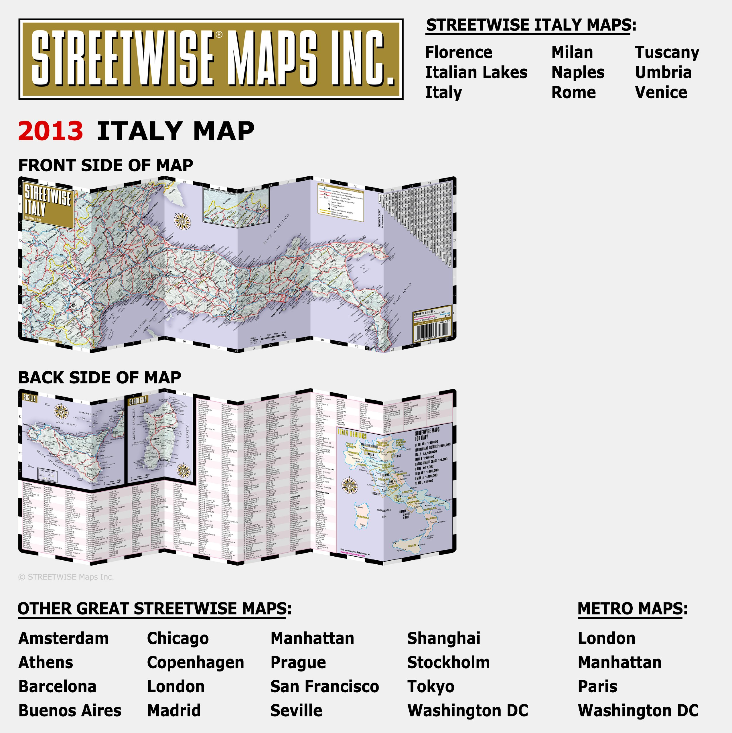 Streetwise Italy Map Laminated Country Road Map Of Italy Folding