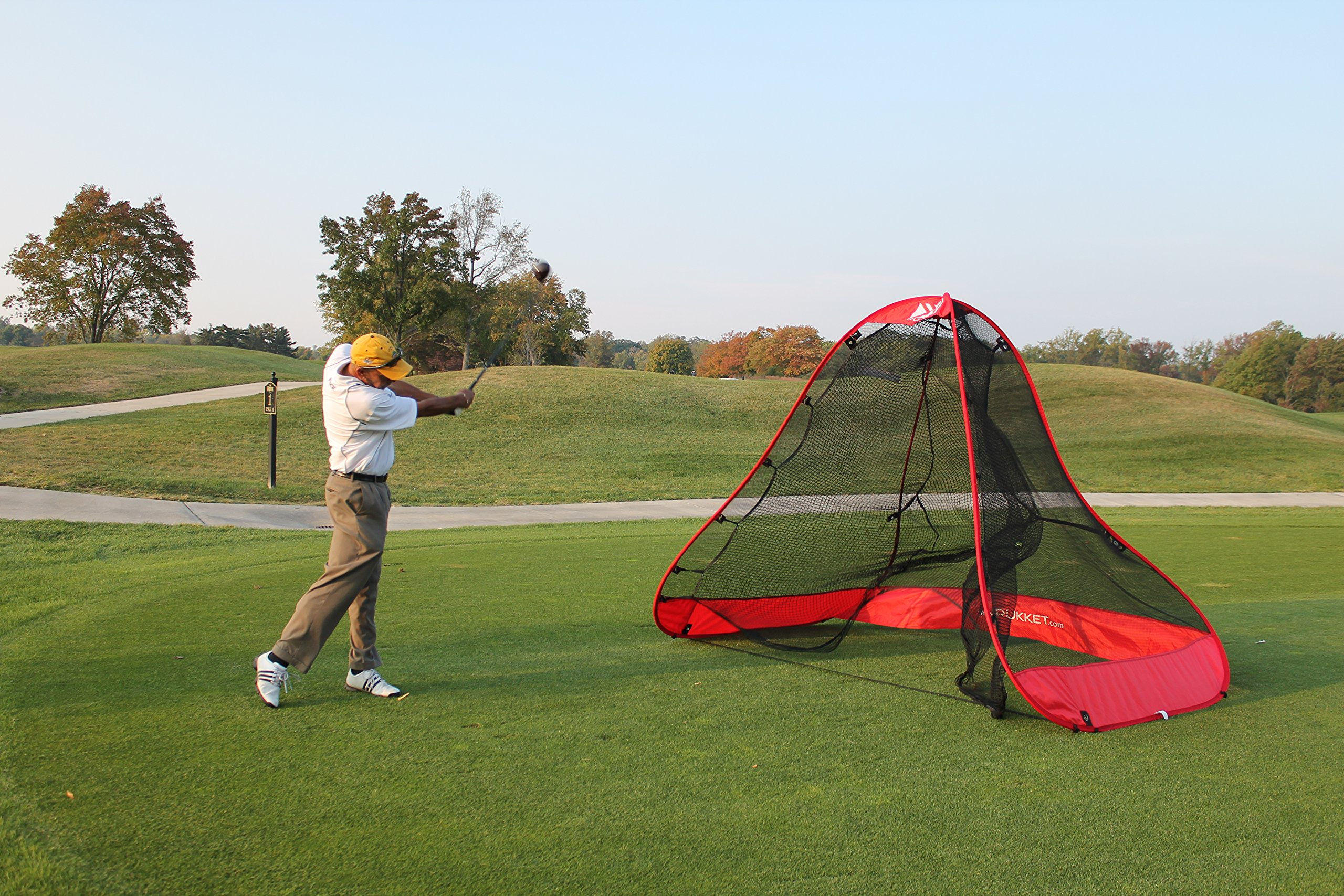 Rukket 4pc Golf Bundle | 10x7ft Portable Driving Net | Chipping Target | Tri-Turf Hitting Mat | Carry Bag | Practice Outdoor and Indoor by Rukket Sports (Image #9)