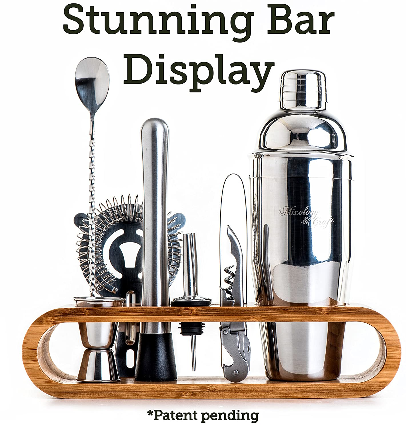 Perfect Home Bartending Kit and Cocktail Shaker Set For an Awesome Drink Mixing Experience Exclusive Cocktail Recipes Bonus 10-Piece Bar Tool Set with Stylish Bamboo Stand Mixology Bartender Kit