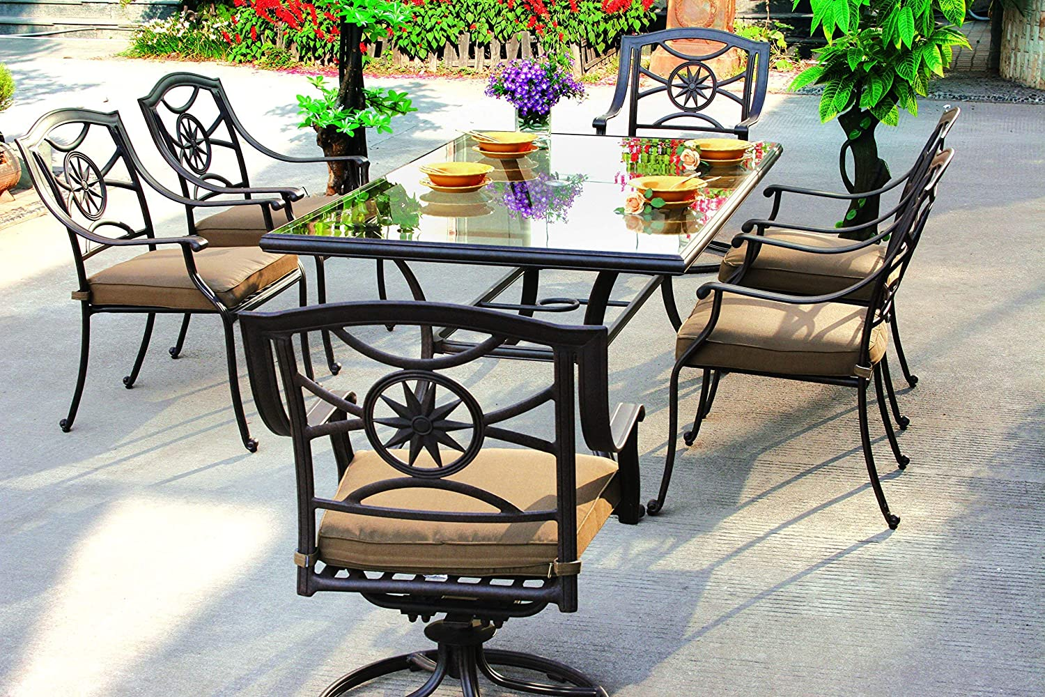 """Darlee Ten Star Cast Aluminum 7 Piece Series 50 Glass Top Dining Set with Seat Cushions, 42"""" by 72"""", Antique Bronze Finish"""