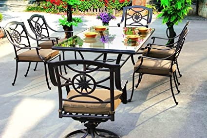 Amazing Darlee Ten Star Cast Aluminum 7 Piece Series 50 Glass Top Dining Set With Seat Cushions 42 By 72 Antique Bronze Finish Interior Design Ideas Tzicisoteloinfo