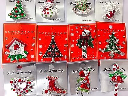 set of 12 vintage christmas brooch lot holiday brooch christmas tree snowman - Vintage Christmas Pictures